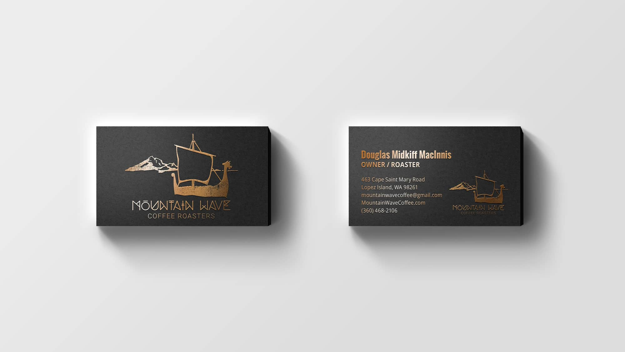 moutain wave coffee business cards