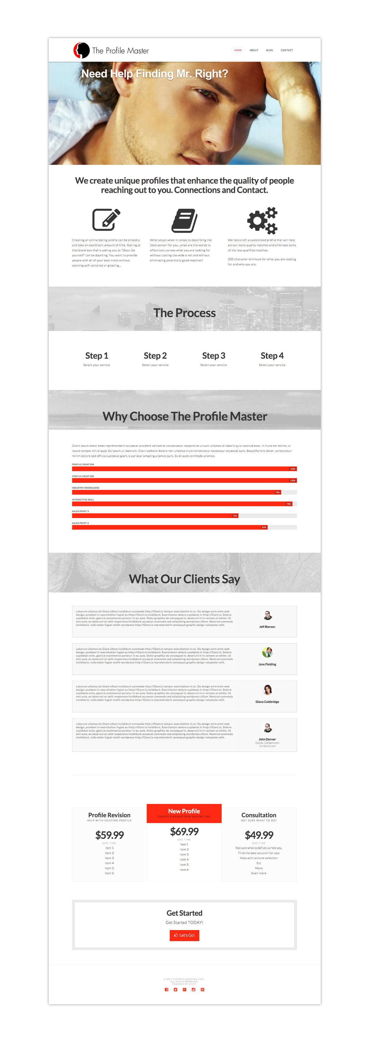 the profile master website screens